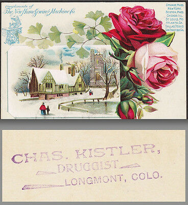 1800's Longmont Colorado Chas. Kistler Druggist New Home Sewing Machine Ad Card