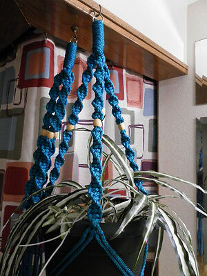 LOT 2 Macrame Plant Hangers TURQUOISE TAN BEADS Made in USA