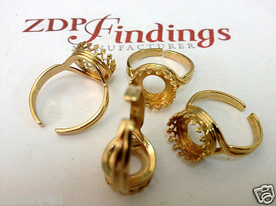 4pcs x Round 10mm Rings Bezel Cups Setting Shiny Gold Plated (8479GP)