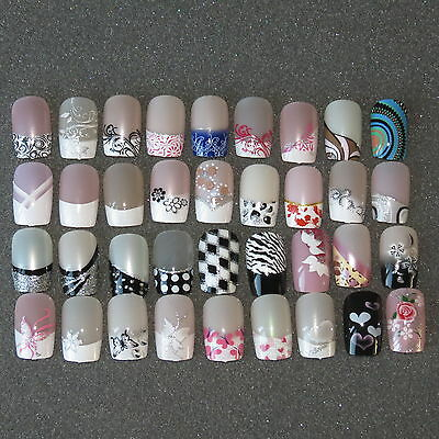 Pre Designed Full False Nails 24 Pre Design Airbrushed Nails UK SELLER