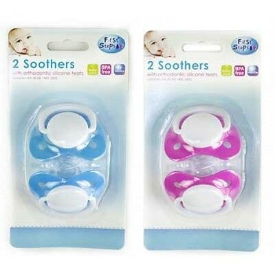 2 Colours- 2x Baby Toddler Silicone Orthodontic Soother Dummy pacifiers bpa free