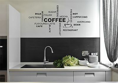 Diy Wall Stickers Kitchen Wall Decals Home Cafe Decor Coffee