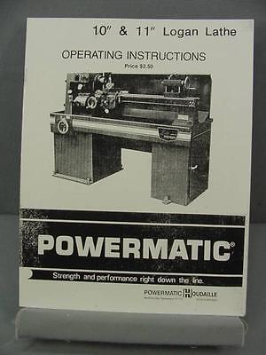 "Powermatic 10"" & 11"" Lathe Operating Instructions Manual"