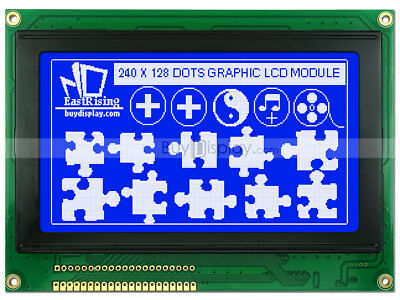 240x128 Blue Graphic LCD Module Display,T6963 Controller,Optional Touch Screen