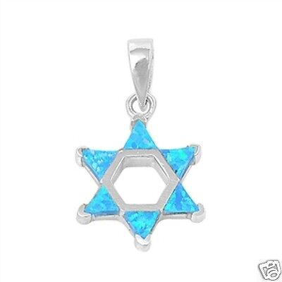 Star of David Pendant with Blue Lab Opal Sterling Silver 925 Religious Symbols