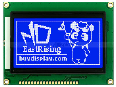 12864 128x64 Blue Graphic LCD Module Display,ST7920 Controller,Serial Interface