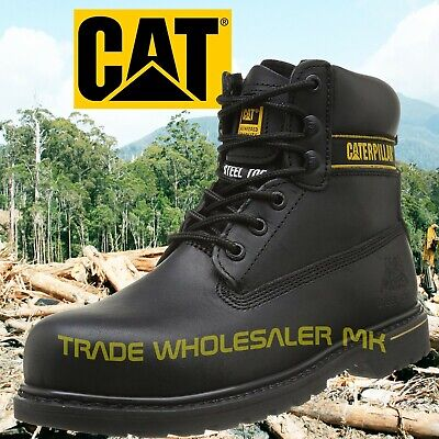 Caterpillar Holton Black Steel Toe Cap Safety Work Boots Cat-Shoes