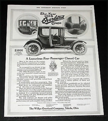 1914 Old Magazine Print Ad, 1915 Willys Overland Coupe, A Luxurious Closed Car!