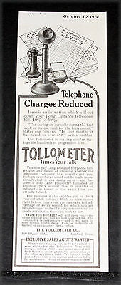 1914 Old Magazine Print Ad, Telephone Tollometer, Time Your Talk Reduce Charges!