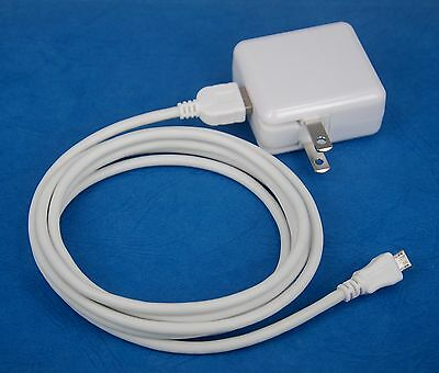6ft USB cable WHITE 4 Samsung Galaxy Note 10.1 2014 2A Foldable AC Wall Charger