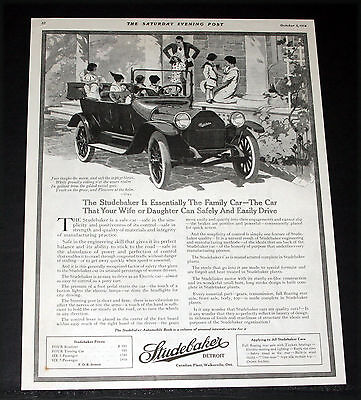 1914 Old Magazine Print Ad, Studebaker Touring Car, The Essential Family Car!