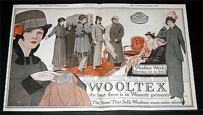 1914 Old Magazine Print Ad, Wooltex, The Best There Is In Women's Garments, Art!
