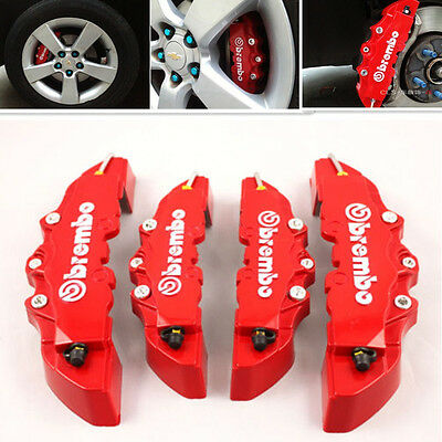 4x 3D Red Brembo Style Disc Brake Caliper Covers Front+Rear Kit Universal NEW
