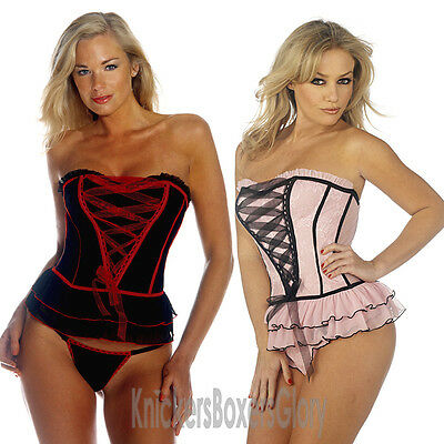 24d939177d SEXY BLACK WHITE CORSET Basque and Shorts Lingerie Underwear Set NEW ...