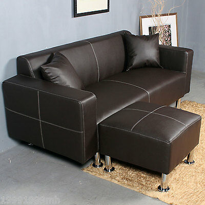 HOMCOM Sectional Sofa Couch Loveseat Leather Furniture Living Roon Set