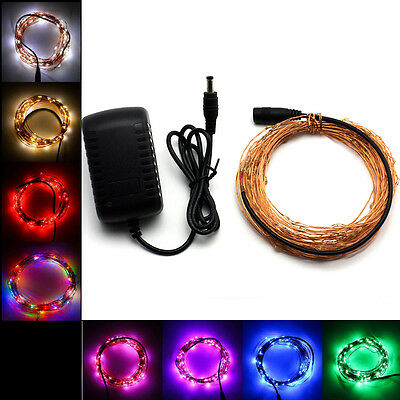 10m 33Ft 100LEDs Copper Wire LED Starry Lights Strings Fairy Lamp +Power Adapter
