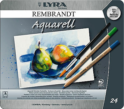 24 x Lyra Rembrant Aquarell Artist Water-Soluble Colouring Pencils In Gift Tin