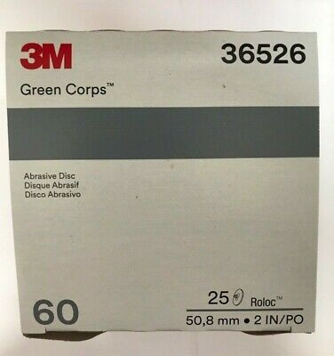 "3M Green Corps Roloc Grinding Discs, 2"" 36-Grit: 01397"