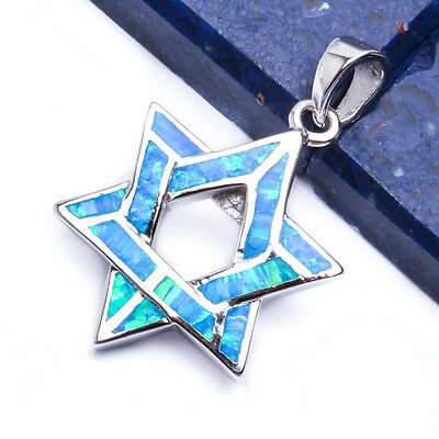 NEW BLUE OPAL STAR OF DAVID .925 Sterling Silver Pendant Necklace