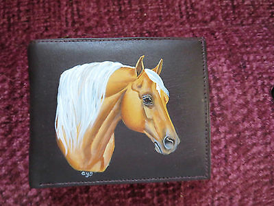 Palomino Horse Hand Painted On Leather Wallet
