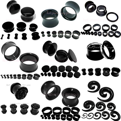 BLACK FLESH TUNNEL EAR PLUG STRETCHER steel silicone acrylic screw fix flared
