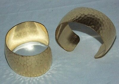 """Hammered Texture Raw Brass Bracelet Cuff Blanks Domed 1"""" Pkg Of 2"""