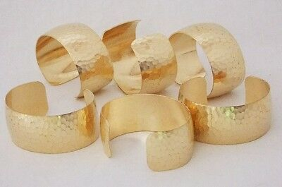 "Hammered Texture Raw Brass Bracelet Cuff Blanks Domed 1"" Pkg Of 12"