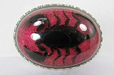 New Women Men Silver Metal Western Belt Buckle Big Real Scorpion Sparkling Pink