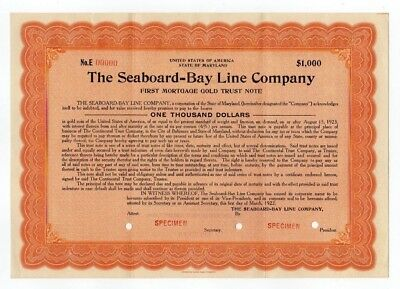 SPECIMEN - The Seaboard-Bay Line Company