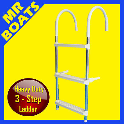 BOAT BOARDING LADDER ✱ 3 STEP ✱ H-DUTY QUALITY ALUMINIUM FOLDING New FREE POST