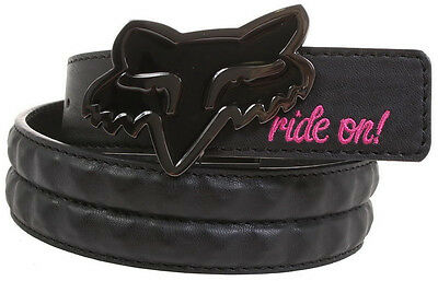 FOX RACING WOMEN'S SNIPER CHICK BLACK LEATHER BELT cool punk buckle casual NEW