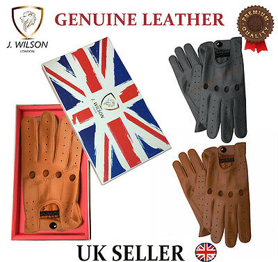 Genuine Leather Soft Nappa Mens Driving Gloves Designer Chauffeur Retro Gift Box
