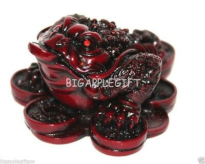 RED Feng Shui Oriental Chinese Wealth Lucky Money Frog Toad Attract Wealth S010