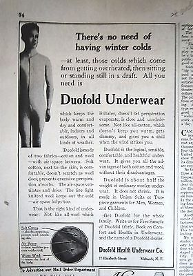 1915 Vintage Mens Duofold Health Underwear Co No Need Having Winter Colds Ad
