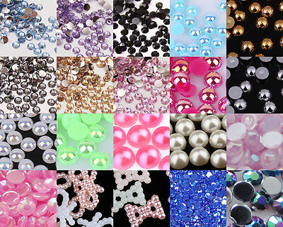 Crystal Rhinestones Gems Resin AB Pearl  Nail Art Phone Scrapbook Craft Deco #A