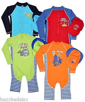 Dunnes boys  BNWT 40+ beach UV sunsuit / swimsuit with hat, baby - 6 years