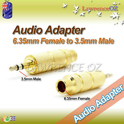 """6.35mm 1/4"""" Female to 3.5mm Male Stereo Audio Jack Adapter Converter 6.5mm Gold"""