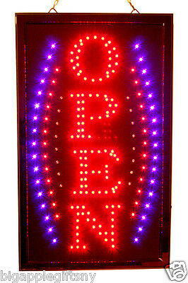"""Large VERTICAL Animated LED OPEN Sign w. Motion ON/OFF Switch 21"""" X 13"""" #020"""