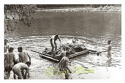 VINTAGE 1940's PHOTO NUDE WWII SOLDIERS FLOAT LAUNDRY RAFT GAY INTEREST 98