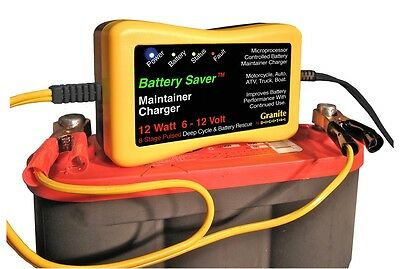 Battery Saver 6 & 12 Volt Auto Battery Charger, Maintainer & Cleaner (12 Watt)