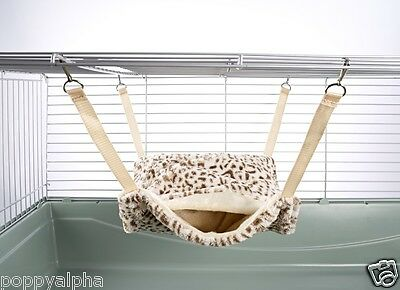 Fluffy Lined Rat Chinchilla Hammock With Pouch: Cheetah Print
