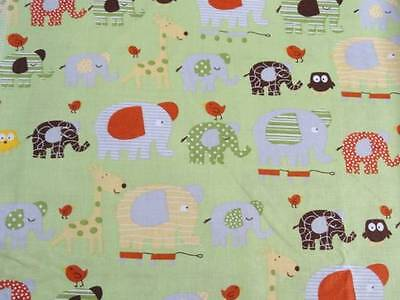 Crib Sheet/ Fitted/ Cotton - Patterned Elephants Giraffes And Owls