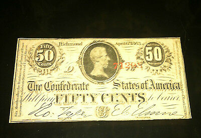$.50 Confederate States of America Fifty Cent Note!!