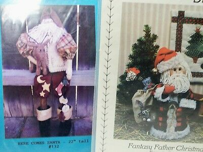 2 Santa Patterns Primitive Country Woodland Folk Art Father Christmas