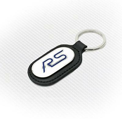 Richbrook 'Licensed' Ford RS Logo Keyring with Leather Key Fob - White & Blue