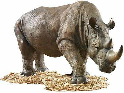 African Plains Wildlife Safari Rhinoceros Garden Home Rhino Sculpture Statue