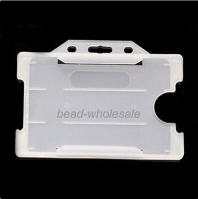 2x Double Identity ID Pass Card Badge Holder Open Horizontal For Office Supplies