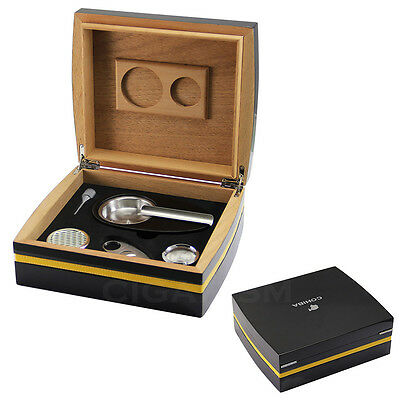 COHIBA Black Cedar Wood Piano Finish Cigar Humidor W/ Cutter Ashtray Set