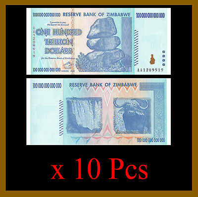 10 Pcs x Zimbabwe 100 Trillion Dollars, 2008 AA (1/10 Bundle) Unc