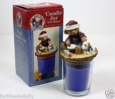 BLUE JEAN TEDDY BEAR CANDLE GLASS VOTIVE CHRISTMAS SANTA HOLIDAY XMAS